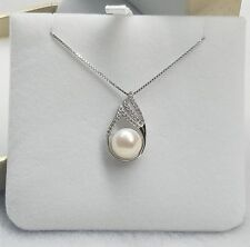 11 mm Freshwater Pearl CZ Sterling Silver Waterdrop Pendant Chain Necklace PE4