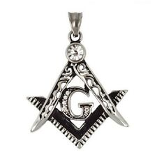 Stainless Steel - G Ruler and Compass Pendant (FQ023)