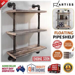 Industrial Floating Pipe Shelf Wall Wooden Metal Rustic Bookshelf DIY Storage AU