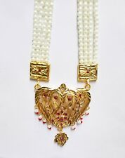 Indian Ethnic Pearl GoldPlated Long Necklace Ranihaar Bollywood Fashion Jewelry