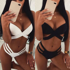 Women's Bandage Push Up Bikini Solid Padded Bra Swimwear Swimsuit Bathing Suit