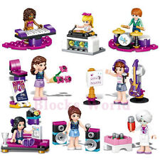 8pcs/set Music Girl Guitar Piano Drum Building Blocks Bricks Model Figures Toys