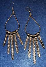 Boho Gypsy Hippy Peasant Ethnic Tear Drop Gold Metal Long dangle Earrings