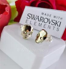 925 STERLING SILVER STUD CRYSTALS FROM SWAROVSKI® SKULL METALLIC LIGHT GOLD F