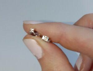GENUINE STERLING SILVER REAL Diamond Stud Earrings $89.00