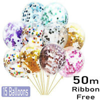 "10 x 12"" Confetti Latex Balloons Rose Gold Helium Birthday Wedding Hen Party uk"
