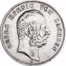 Jäger 130 - Sachsen 5 Mark Silber König Georg 1903 - 1904 Münze in Münzkapsel