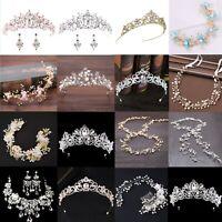 Bridal Wedding Crystal Flower Tiara Crown Pearl Rhinestone Hair Band Headband