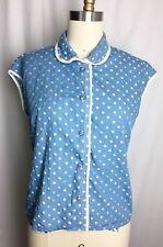 MARC JACOBS Cornflower Blue Polka Dot Peter Pan Collar Blouse Top Shirt Size 12
