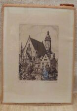 "Small Miniature Etching of Church with Spire Chi-Rho ""Christogram"" Christ Signed"