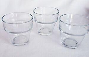 Lot of 3 Crisa Flower Pot Clear Glass Tea light Votive Candle Cups
