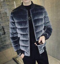 Korean Men Winter Velvet Cotton Padded Quilted Stand collar Long sleeve Jacket
