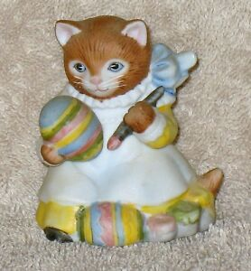 RARE VINTAGE KITTY CUCUMBER  GINGER PAINTING EASTER EGG
