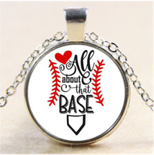 BASEBALL SPORT LOVE PENDANT GAME Sterling Silver necklace FREE KEYCHAIN GIFT BOX