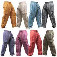 Men's Wide leg cargo Summer Trousers Stripes Festival Side Pocket Combat Pants