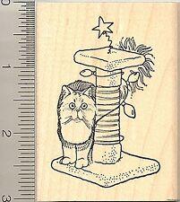 Persian Cat Christmas Post Rubber Stamp J10215 WM