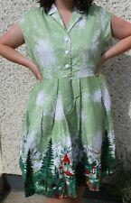 Lindy Bop Gilda Green Alpine Print Vintage Swing Dress UK 22