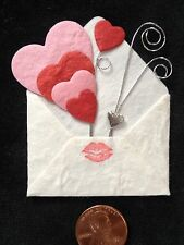 5 Hearts Valentine Sweetheart Card Toppers Handmade mulberry paper S.W.A.K. love