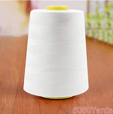 6000 Yard Spool WHITE Sewing Thread All Purpose 100% Polyester