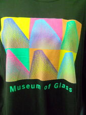 Museum of Glass Black Tee Shirt 2XL Long Sleeves 100% Cotton Color Panels Front