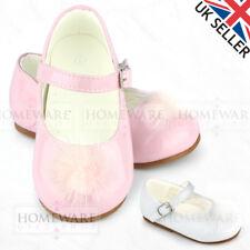 Bebé Niñas Zapatos Estilo Español patente Mary Jane Esponjoso POM POM Rosa Blanco Uk