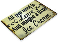 TIN SIGN Love & Ice Cream Sign Rustic Kitchen Cottage Parlor A109
