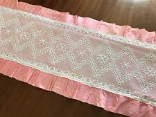 More details for vintage white tulle lace table runner cloth pinky/peach backing 39.5x11.5 inches