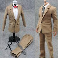 "Hot Figure Toys 1/6 Khaki Suit Pants White Shirt Clothes Set For 12"" Male Body"