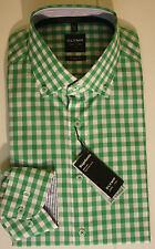 OLYMP Maschinenwäsche Klassische Herrenhemden im Button-Down-Kragen-Stil mit Sportmanschette-Ärmelart