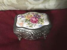 Pretty Trinket Box,Japanese Vintage 1950s Metal,Porcelain Lid With Colourful Flo