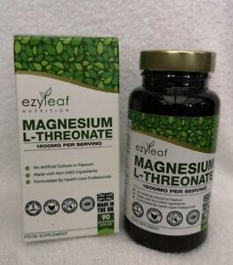 Ezyleaf Nutrition Magnesium L-Threonate 1500mg per serving x 90 Capsules