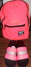Victoria's Secret Pink logo VS Sandals coral L 9 10 + everyday backpack set