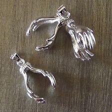 Pendentif support perle bélière forme main plaquage argent 18KGP 23x14mm