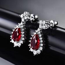 HUCHE Luxury Red Crystal Ruby Pear Gemstone 18K White Gold Filled Women Earrings
