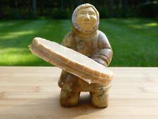 Stone Carved Intuit Eskimo Figurine Made In Alaska Signed