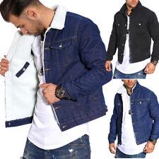 Jeansjacke mit Teddy-Fell gefüttert Sweatjacke Denim-Shirt Jacke Jeans-Hemd Blau