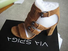 976ce6d80c6 Via Spiga Womens Revel Gladiator Sandal block heel brown suede size 6.5