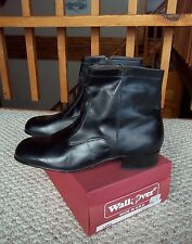 WALKOVER Men's Black Leather Ankle Boots Side Zip Size 13 New In Box