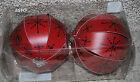 IKEA 2PK Christmas Ornaments Burgundy Red w/ Black Snowflakes Paper Balls NIB
