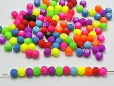 """500 Mixed Matte Neon Beads Acrylic Round Beads 6mm(0.24"""") Rubber Tone"""