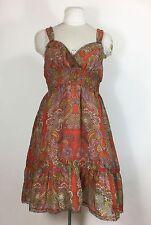 Free People Orange Floral Dress Sz 12 Brown Paisley Crochet Lace Trim Silk Blend