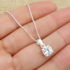 925 Sterling Silver White Clear CZ Solitaire Pendant Necklace