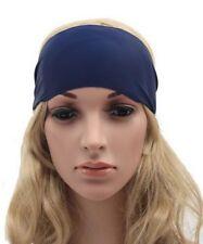 Bandeau cheveux tête fond bleu ajustable élastique.