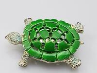 Vintage Turtle Tortoise Brooch Pin Green White Enamel Retro Gold Tone
