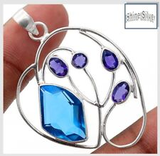 6 CT Topaz & Amethyst 925 Solid Sterling Silver Pendant & 925 Silver Chain