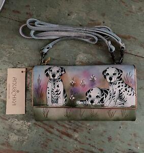 NWT Anuschka Leather Clutch Wallet W/ Strap Dalmatian Puppy Dog Abstract 1034