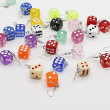PAIR CREATIVE CUTE COLOURED DICE DROP EARRINGS HOOK GIFT PINK WHITE BLUE RED