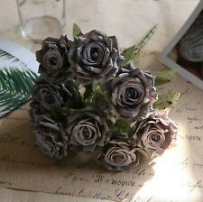 9Heads Silk Large Rose Artificial Flowers Fake Bouquet Wedding Home Decor-Grey