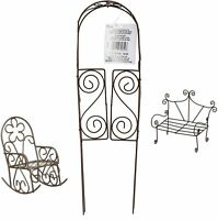 Rustic Fairy Garden Accessories Rust Colored Bundle of 3 Items - Wire Arch Do...