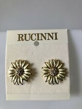 New Rucinni Gold and Light Green Color Flower Clips With Swarovski Crystal.